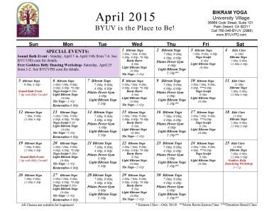 byuv April 2015 Calendar