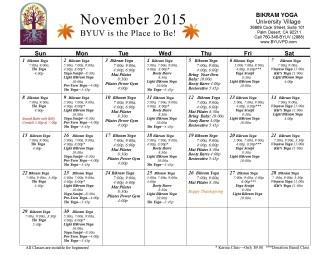 byuv November 2015 Calendar